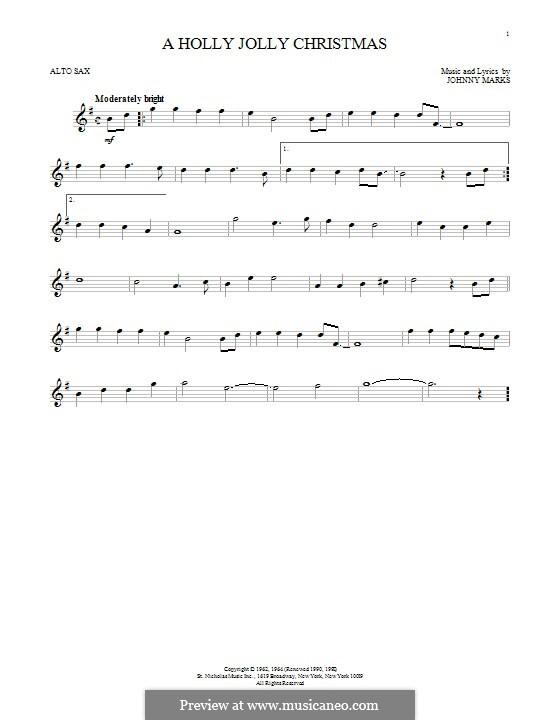 A Holly Jolly Christmas: para Saxofone Alto by Johnny Marks