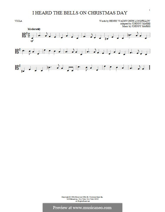 I Heard the Bells on Christmas Day: para viola by Johnny Marks