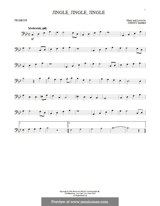 Jingle, Jingle, Jingle: para trombone by Johnny Marks