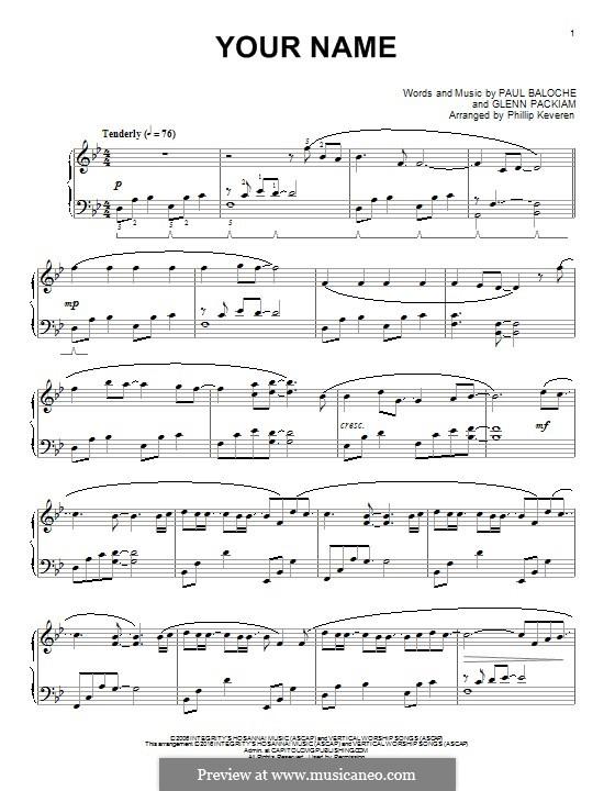 Your Name (Phillips, Craig & Dean): Para Piano by Paul Baloche, Glenn Packiam