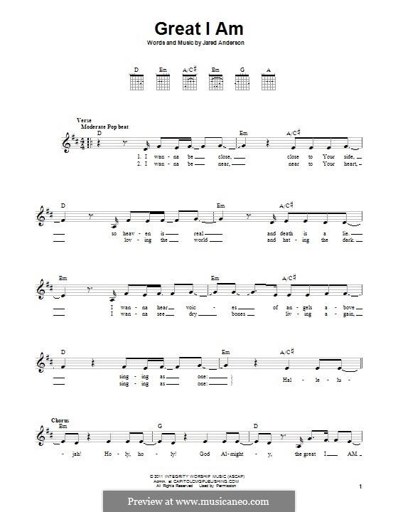 Great I am: Para guitarra com guia by Jared Anderson