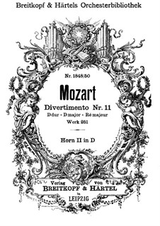 Divertissement No.11 in D Major, K.251: French horns II part by Wolfgang Amadeus Mozart
