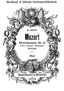 Divertissement No.11 in D Major, K.251: parte oboes by Wolfgang Amadeus Mozart