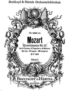 Divertissement No.12 in E Flat Major, K.252: Oboe parte I by Wolfgang Amadeus Mozart