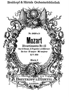 Divertissement No.12 in E Flat Major, K.252: trompa parte I by Wolfgang Amadeus Mozart