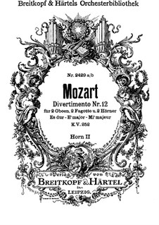 Divertissement No.12 in E Flat Major, K.252: trompa parte II by Wolfgang Amadeus Mozart