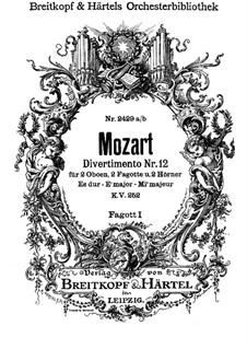 Divertissement No.12 in E Flat Major, K.252: fagote parte I by Wolfgang Amadeus Mozart