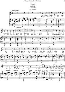 Oiseaux, si tous les ans, K.307 (284d): Para vocais e piano by Wolfgang Amadeus Mozart