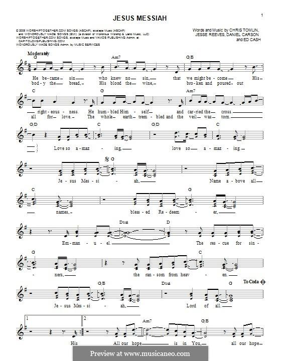 Jesus Messiah: melodia by Chris Tomlin, Daniel Carson, Ed Cash, Jesse Reeves