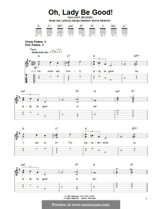Oh, Lady, Be Good: Para guitarra com guia by George Gershwin