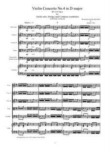 Six Violin Concertos, Op.6: Concerto No.4 in D Major – score and all parts, RV 216 by Antonio Vivaldi