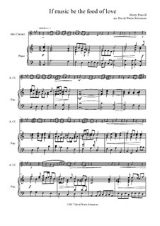 If music be the food of love: For alto clarinet and piano by Henry Purcell