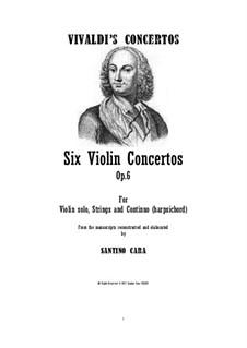 Six Violin Concertos, Op.6: set completo by Antonio Vivaldi