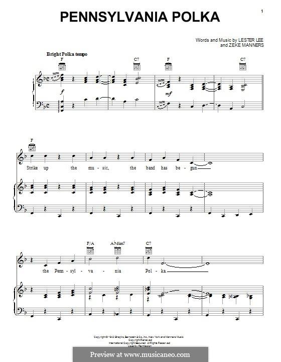 Pennsylvania Polka: Para vocais e piano (ou Guitarra) by Lester Lee, Zeke Manners