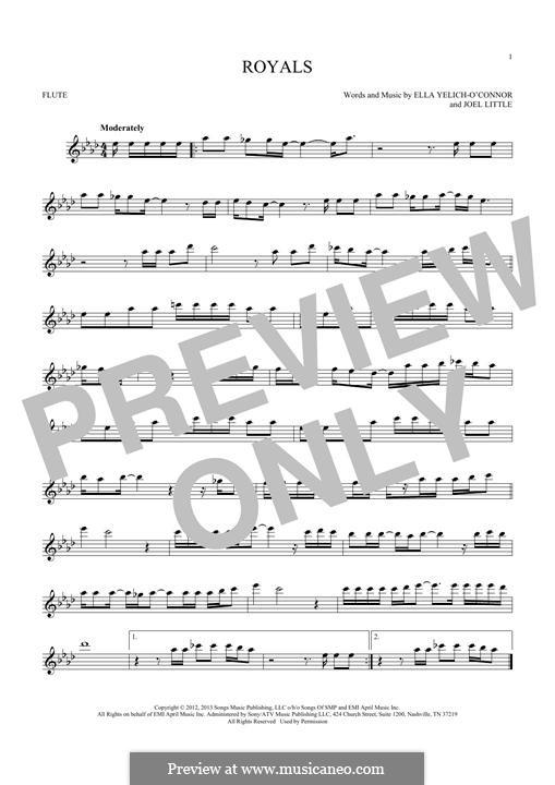 Royals (Lorde): para flauta by Ella Yelich-O'Connor, Joel Little