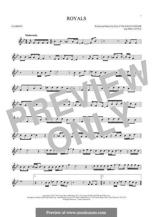 Royals (Lorde): para clarinete by Ella Yelich-O'Connor, Joel Little