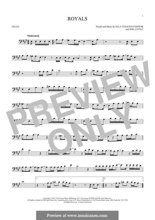 Royals (Lorde): para violoncelo by Ella Yelich-O'Connor, Joel Little