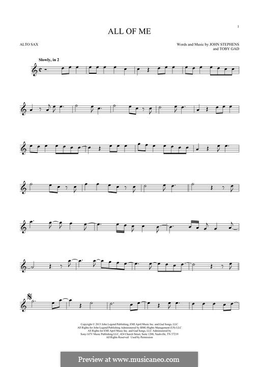 All of Me: para Saxofone Alto by John Stephens, Tobias Gad