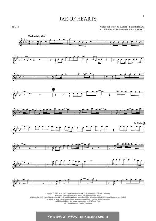 Jar of Hearts: para flauta by Barrett Yeretsian, Christina Perri, Drew Lawrence