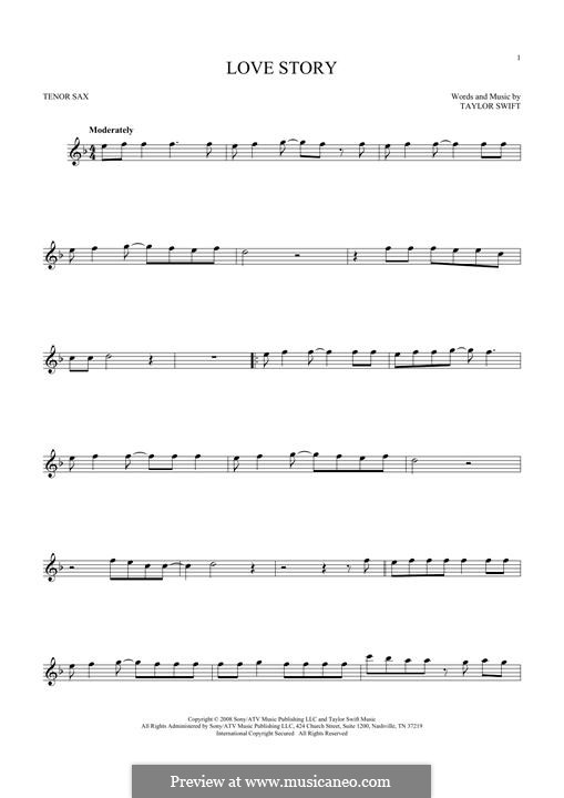 Love Story: para saxofone tenor by Taylor Swift