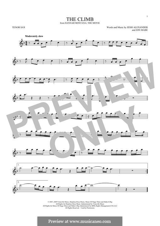 The Climb: para saxofone tenor by Jessi Alexander, Jon Mabe
