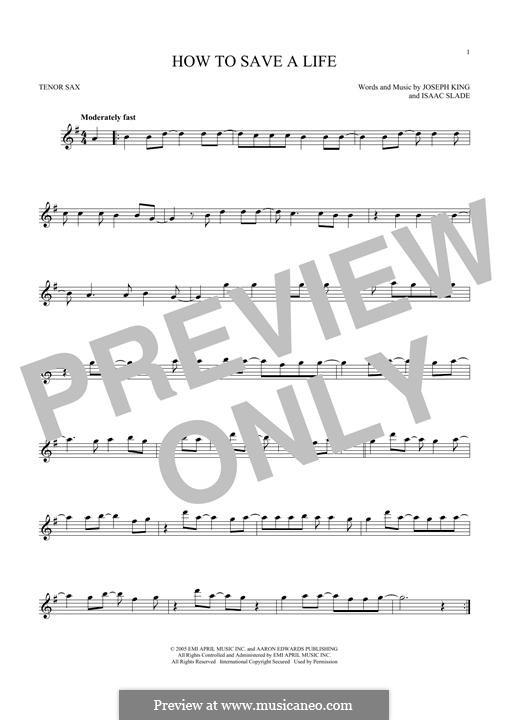 How to Save a Life (The Fray): para saxofone tenor by Isaac Slade, Joseph King