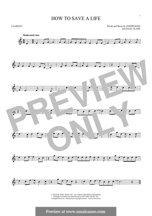 How to Save a Life (The Fray): para clarinete by Isaac Slade, Joseph King