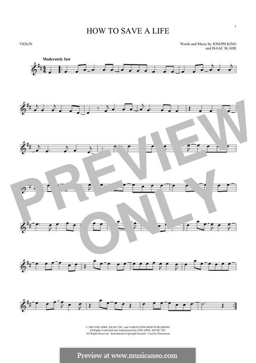 How to Save a Life (The Fray): para violino by Isaac Slade, Joseph King