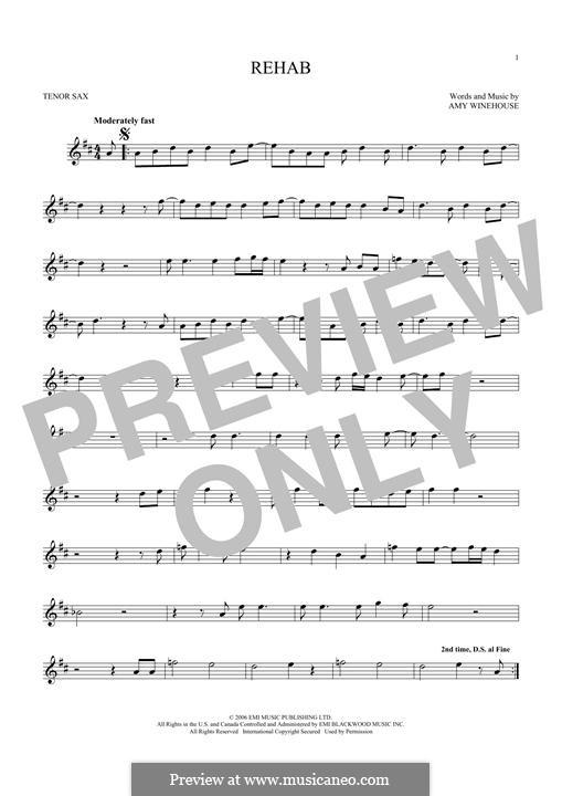 Rehab: para saxofone tenor by Amy Winehouse