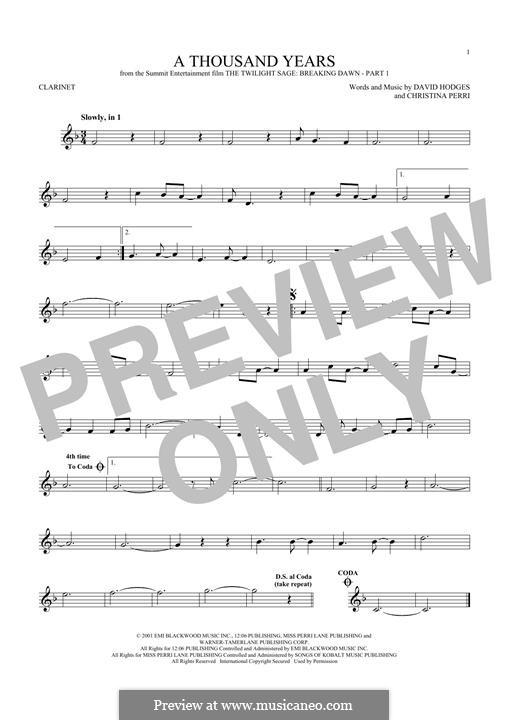 A Thousand Years: para clarinete by Christina Perri, David Hodges
