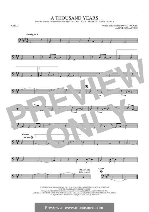 A Thousand Years: para violoncelo by Christina Perri, David Hodges