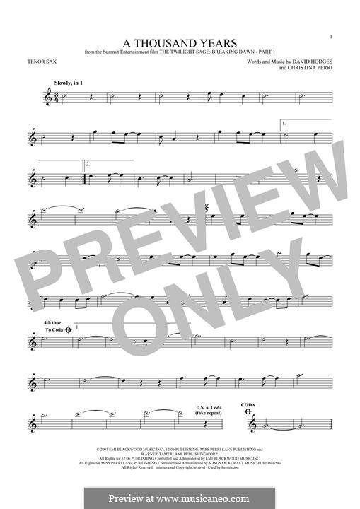 A Thousand Years: para saxofone tenor by Christina Perri, David Hodges