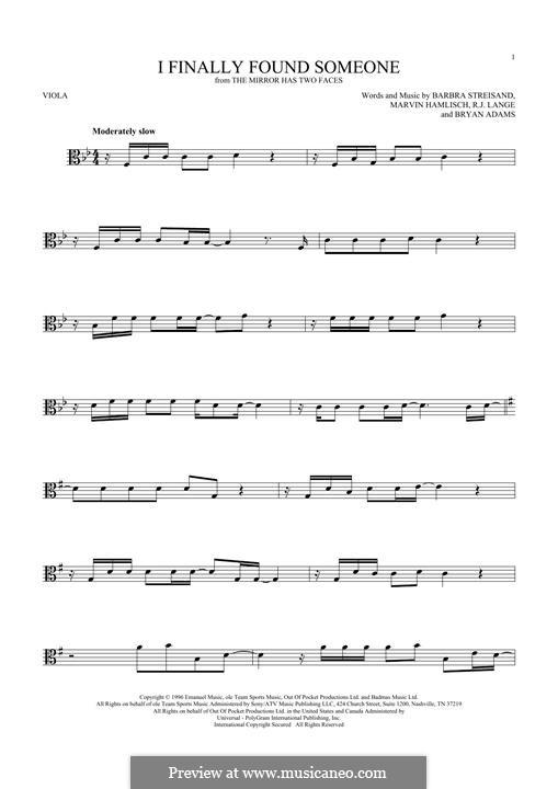 I Finally Found Someone (from The Mirror Has Two Faces): para viola by Barbra Streisand, Bryan Adams, Marvin Hamlisch, Robert John Lange