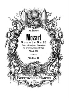 Church Sonata for Two Violins, Organ and Basso Continuo No.17 in C Major, K.336 (336d): violino parte II by Wolfgang Amadeus Mozart