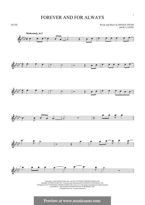 Forever and for Always: para flauta by Robert John Lange, Shania Twain