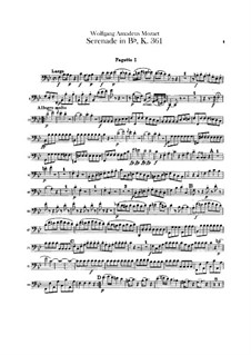 Serenade for Winds No.10 in B Flat Major, K.361: Bassoons and contrabassoons parts by Wolfgang Amadeus Mozart