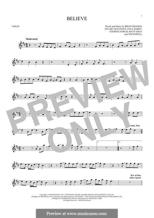 Believe (Cher): para violino by Brian Higgins, Paul Barry, Stephen Torch