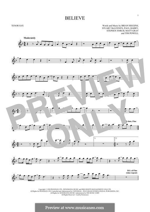 Believe (Cher): para saxofone tenor by Brian Higgins, Paul Barry, Stephen Torch