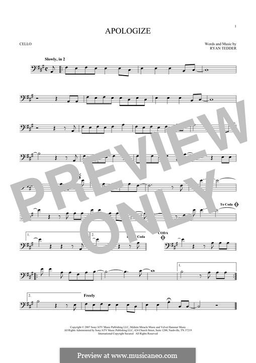 Apologize (OneRepublic): para violoncelo by Ryan B Tedder