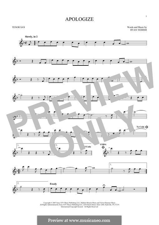 Apologize (OneRepublic): para saxofone tenor by Ryan B Tedder