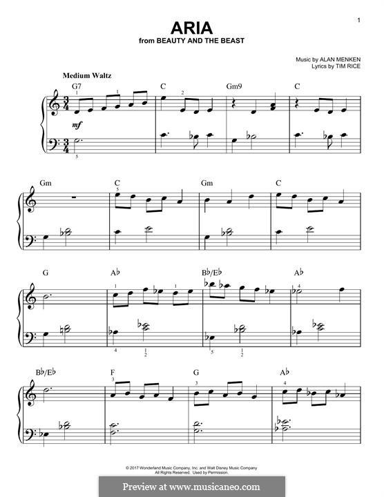 Aria: Para Piano by Alan Menken