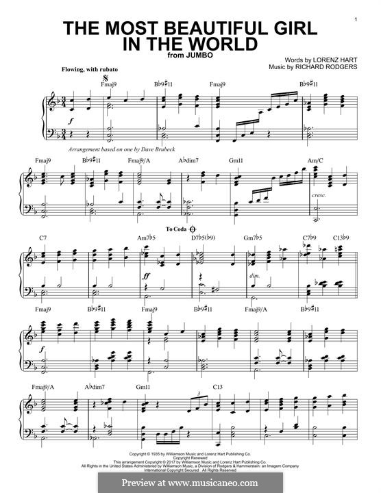 The Most Beautiful Girl in the World: Para Piano by Richard Rodgers