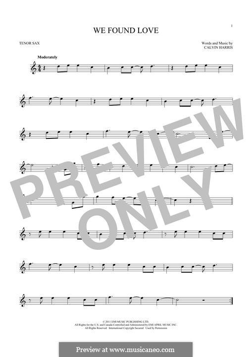 We Found Love: para saxofone tenor by Calvin Harris