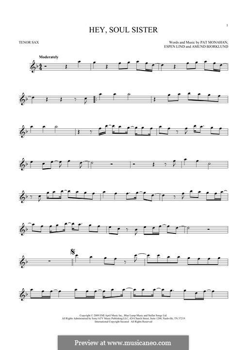 Hey, Soul Sister (Train): para saxofone tenor by Amund Bjorklund, Espen Lind, Patrick Monahan