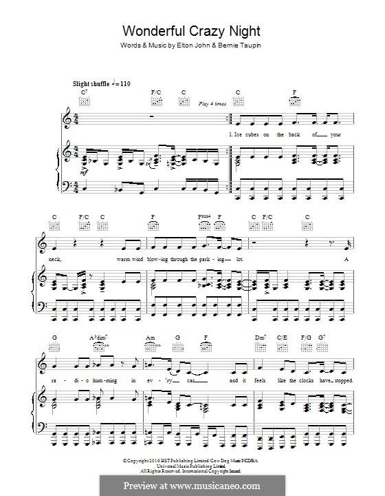 Wonderful Crazy Night: Para vocais e piano (ou Guitarra) by Elton John