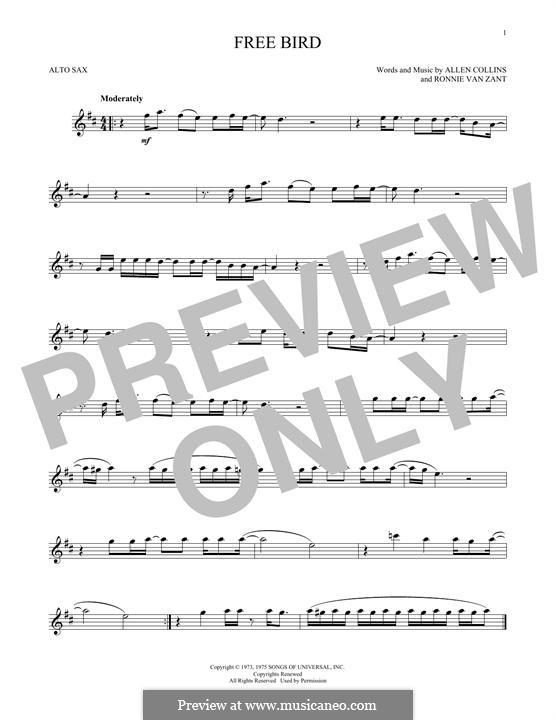 Free Bird (Lynyrd Skynyrd): para Saxofone Alto by Allen Collins, Ronnie Van Zant