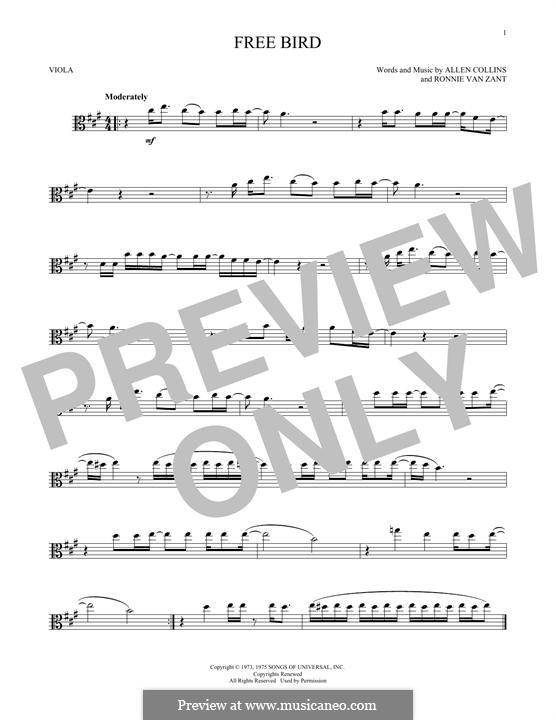 Free Bird (Lynyrd Skynyrd): para viola by Allen Collins, Ronnie Van Zant