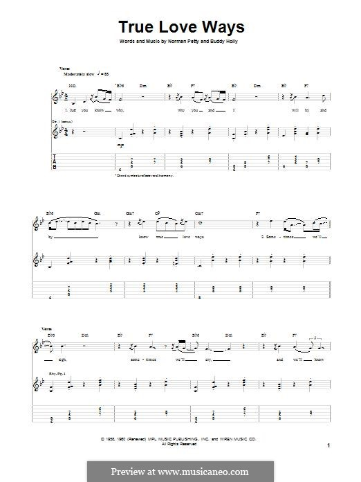 True Love Ways (Military Wives): Para guitarra com guia by Buddy Holly, Norman Petty