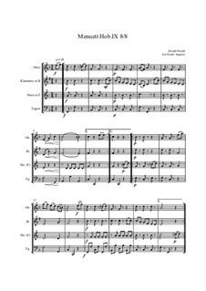 12 Menuets pour le Clavecin ou Pianoforte, Hob.IX/8: Minuet, for wind enssemble by Joseph Haydn