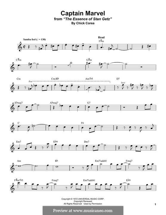 Captain Marvel: para saxofone tenor by Chick Corea